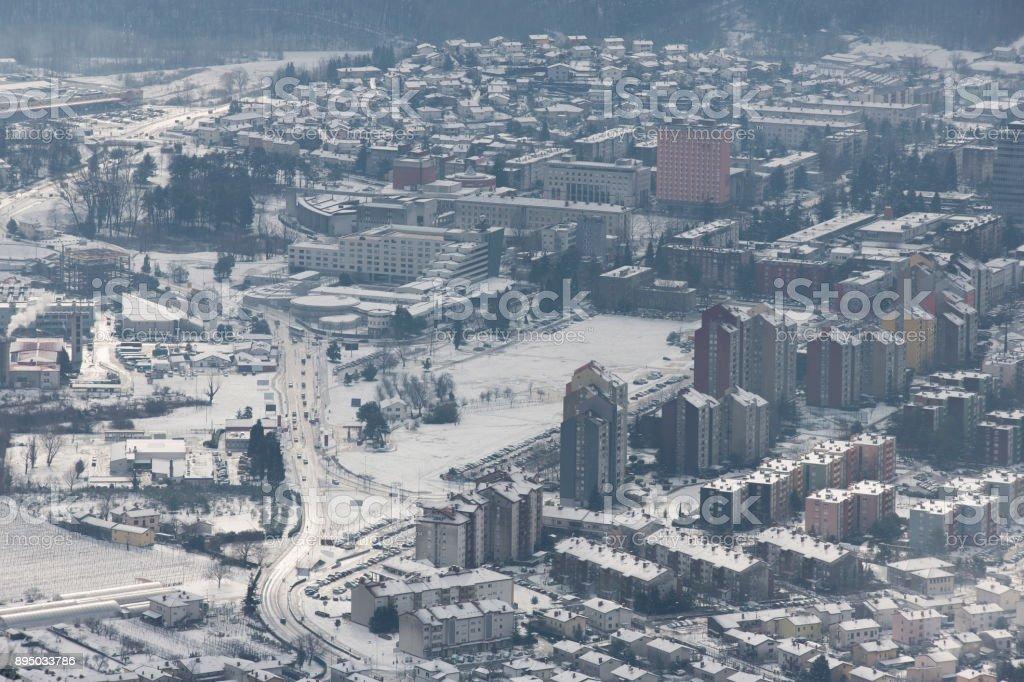 Winter in Nova Gorica stock photo