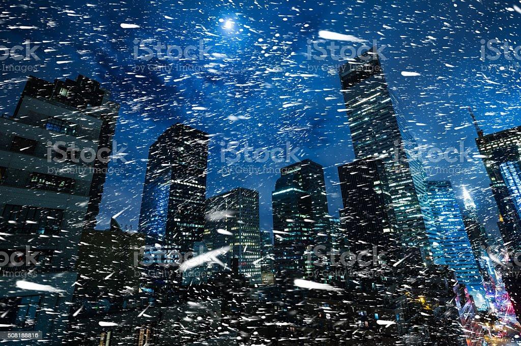 Winter in NYC. Manhattan at night stock photo