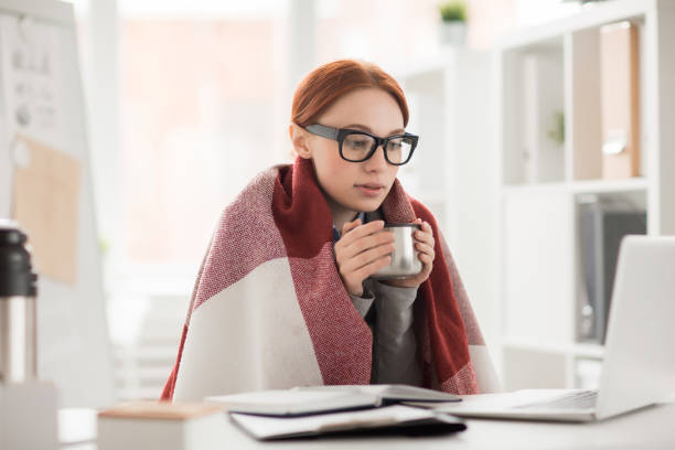 Winter in office stock photo