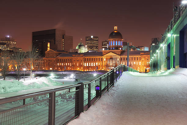Winter in Old Montreal City stock photo