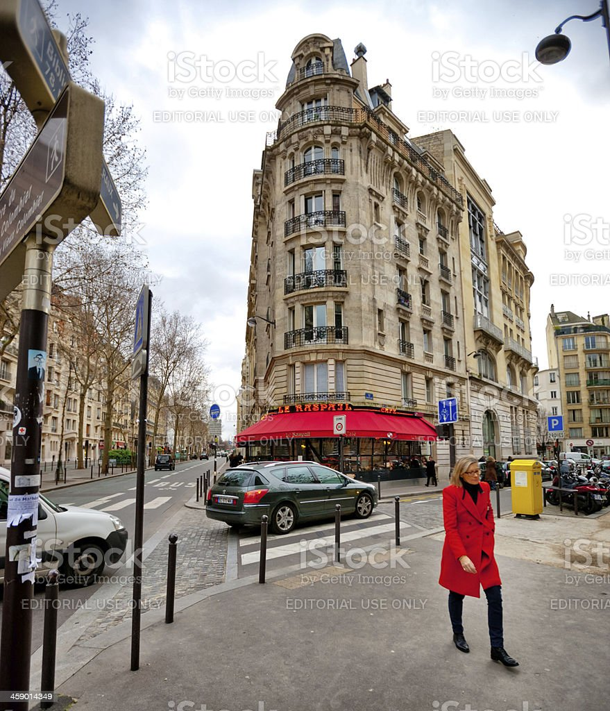 Winter in Paris, Le Raspail Cafe royalty-free stock photo