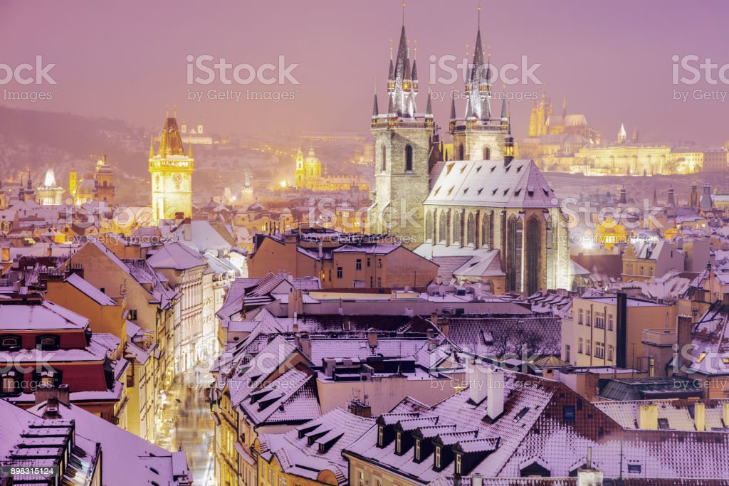 Winter in Prague - city panorama with Tyn Cathedral stock photo