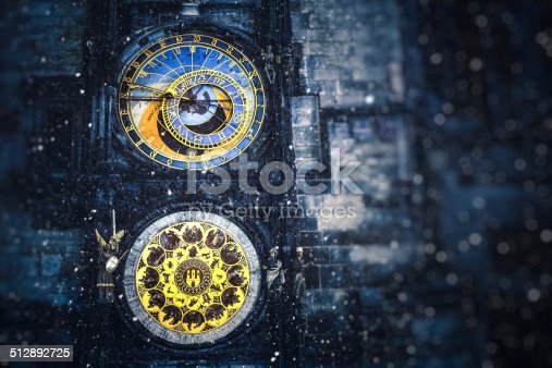 Detail of famous Astronomical Clock Tower (Prague, Czech Republic, Europe) on snowy winter evening.