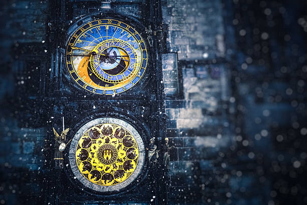 Winter In Prague Detail of famous Astronomical Clock Tower (Prague, Czech Republic, Europe) on snowy winter evening. astronomical clock prague stock pictures, royalty-free photos & images
