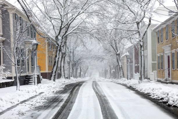 vinter i providence - cold street bildbanksfoton och bilder