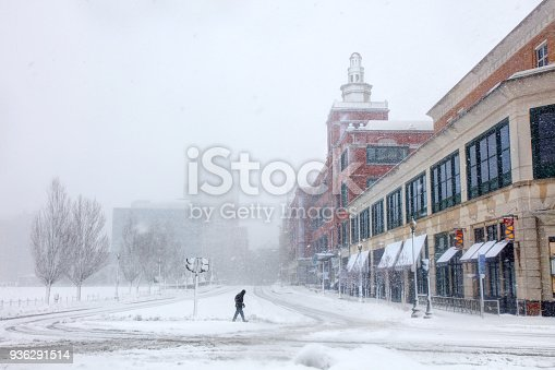 Winter nor'easter in downtown Providence Rhode Island. Providence is the capital and most populous city in the state of Rhode Island