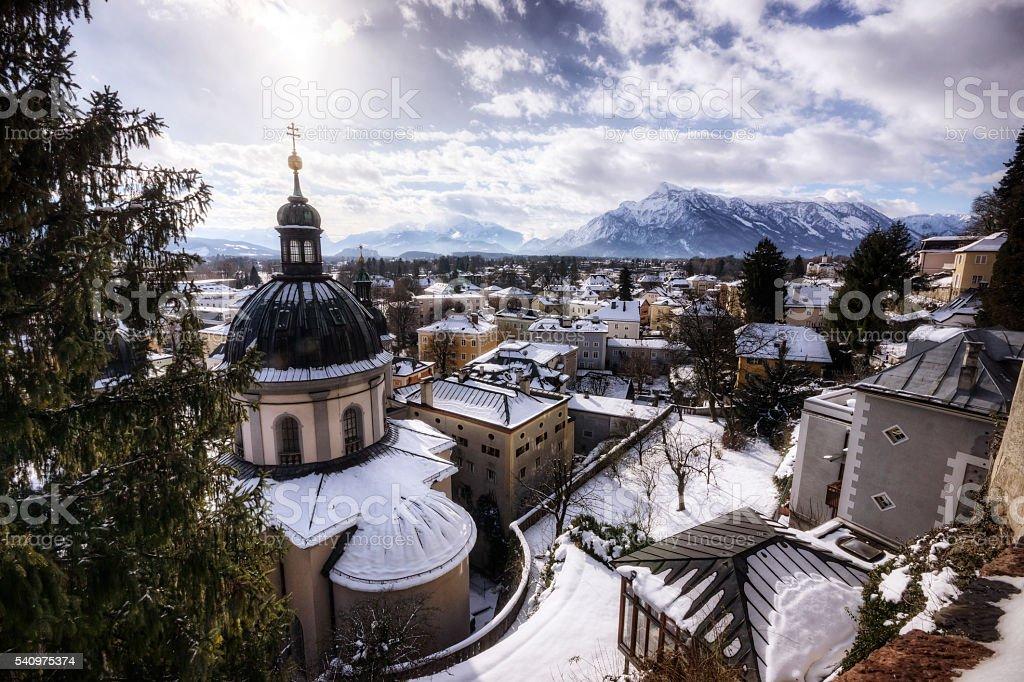 Winter in Salzburg Austria stock photo