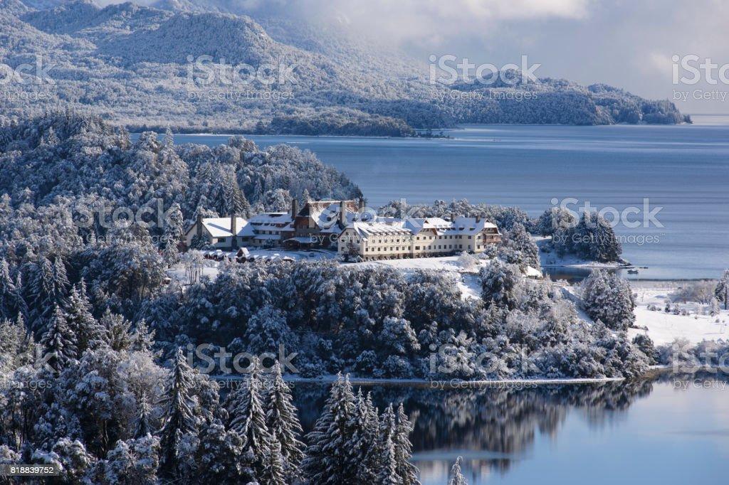 Winter in San Carlos de Bariloche, Patagonia, Argentina. stock photo