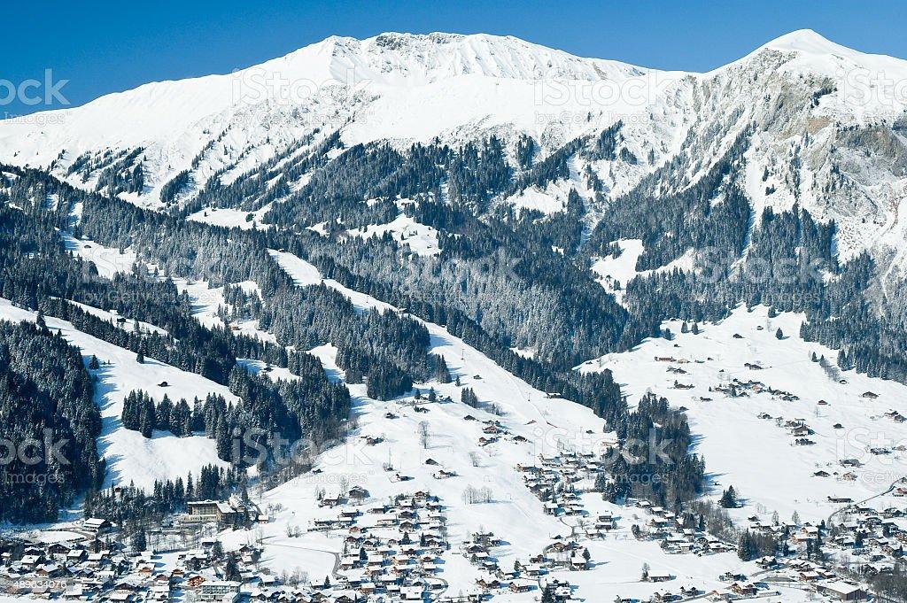 Winter in Simmental, Switzerland stock photo