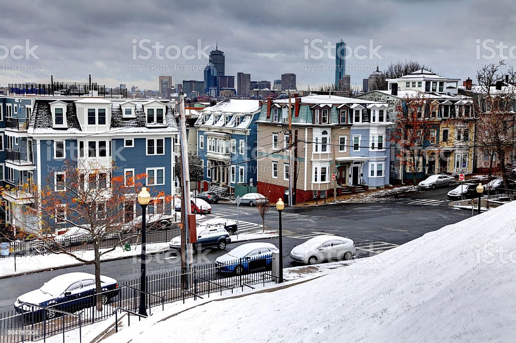 Winter in South Boston. Southie Neighborhood stock photo