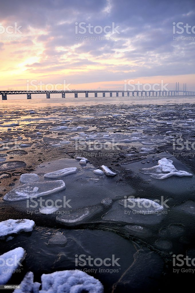 Winter in southern Sweden, Malmö side of Oresund Bridge stock photo