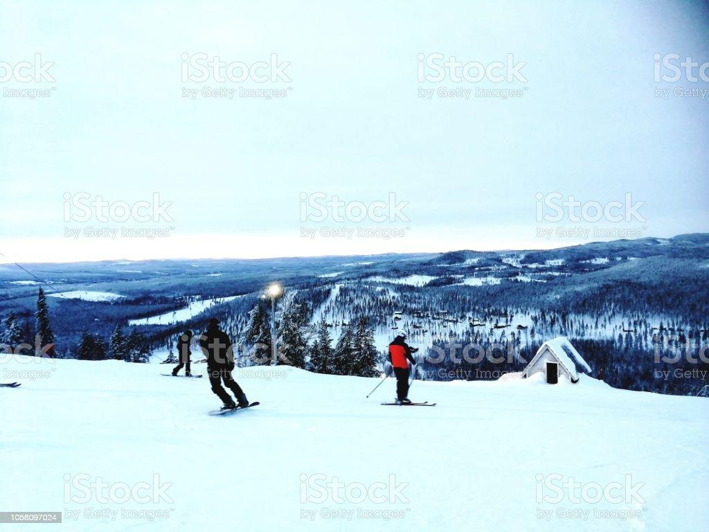 winter in Swedish lapland stock photo