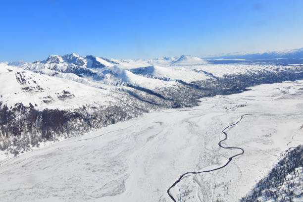 Winter in the Alaska Range stock photo