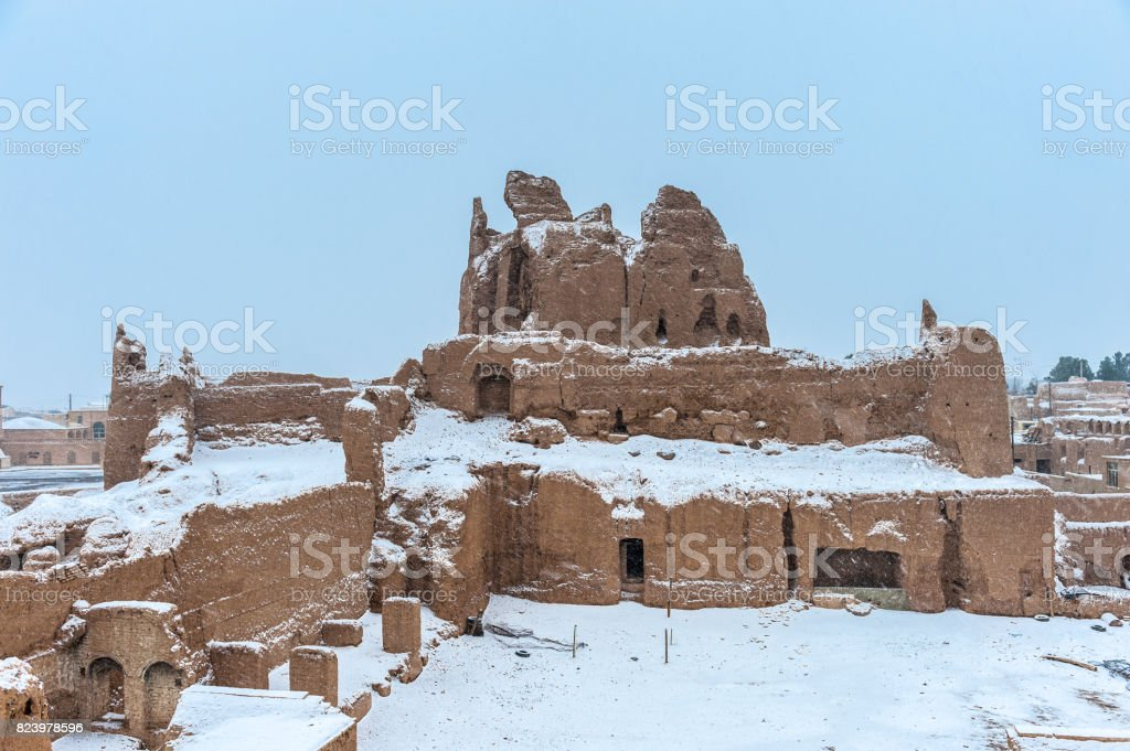 Winter in the ancient city of Iran called Naein stock photo