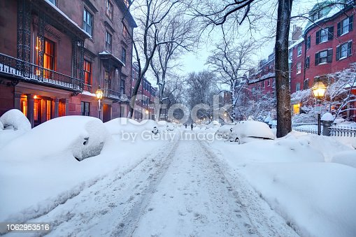 Winter in the Beacon Hill neighborhood of Boston. Boston is known for its central role in American history, world-class educational institutions, cultural facilities, and champion sports franchises