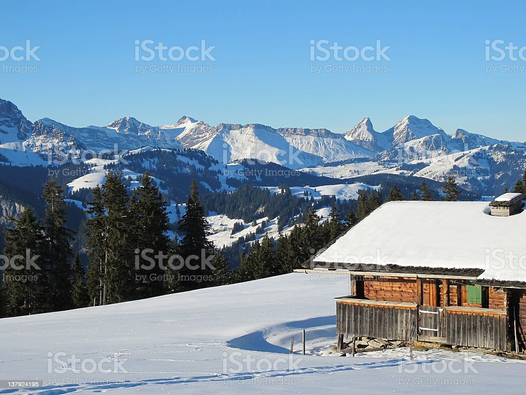 Winter in the Bernese Oberland stock photo