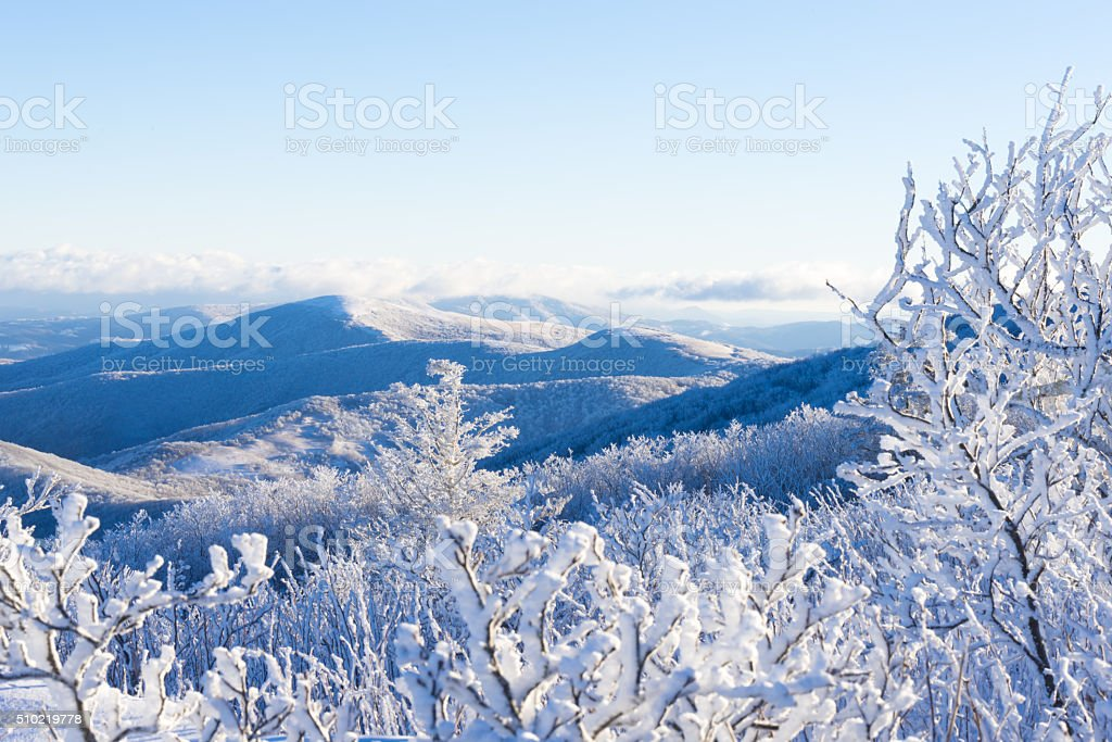Winter In The Blue Ridge Mountains stock photo