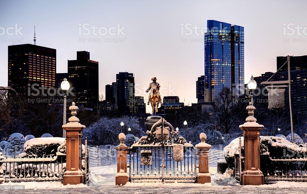 Winter in the Boston Public Garden stock photo