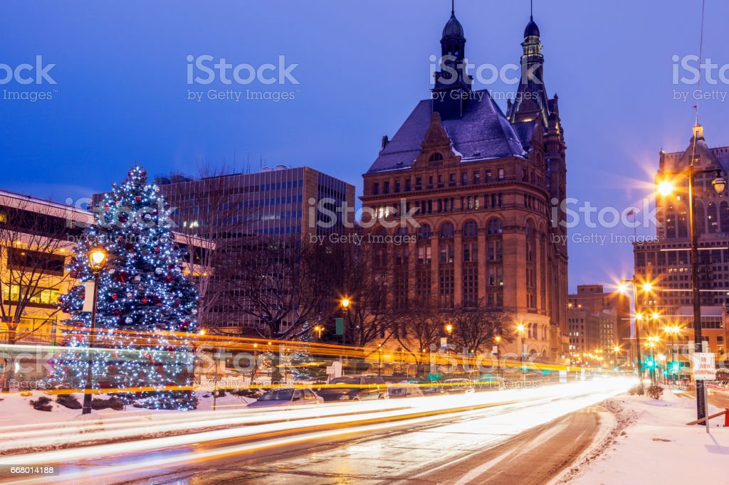 Winter in the center of Milwaukee stock photo