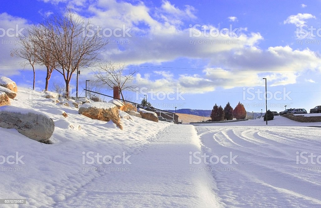Winter in the city landscape stock photo