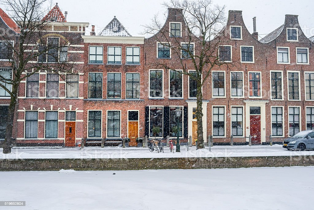 Winter in the city of Leiden, the Netherlands stock photo