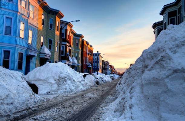 Winter in the South Boston (Southie) neighborhood of Boston stock photo