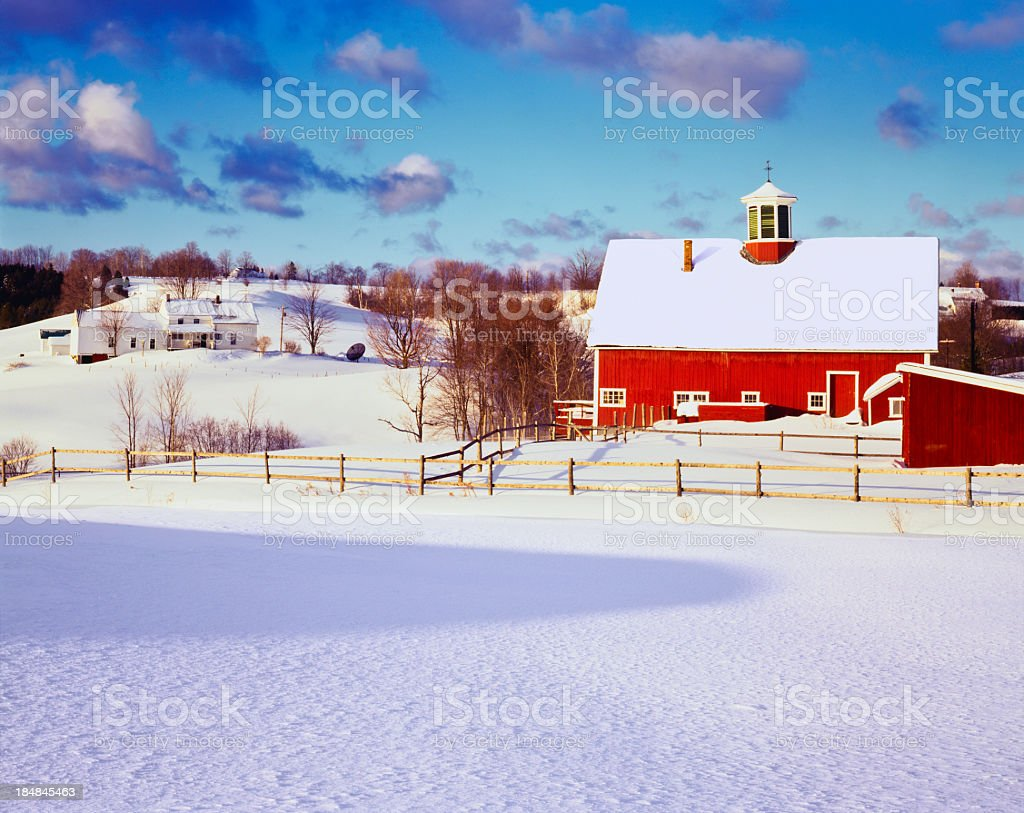 Winter in the Vermont Country side stock photo