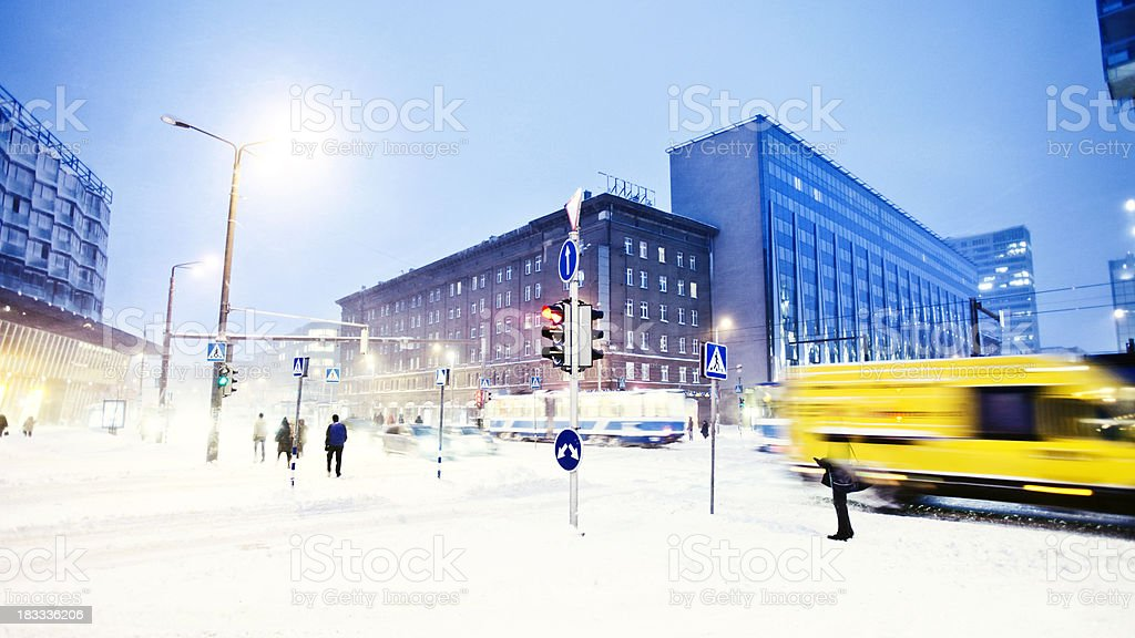 winter in town stock photo