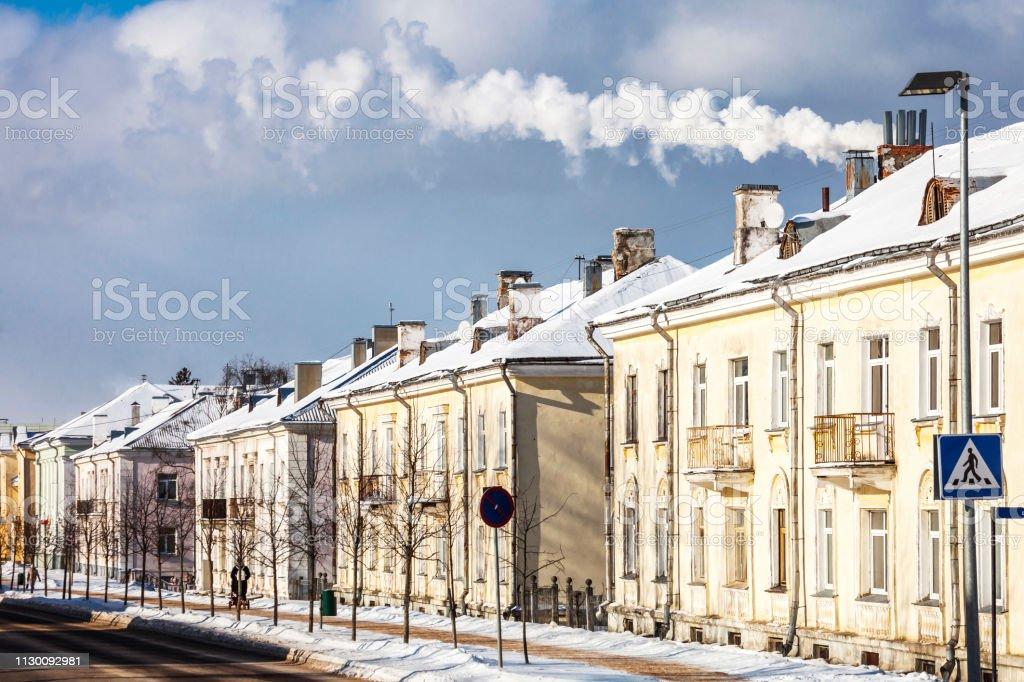 Winter in town - Sillamae, Estonia stock photo