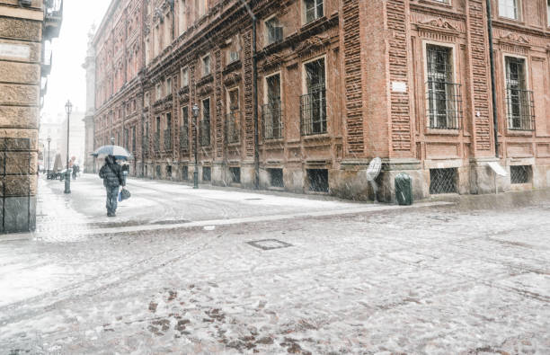 Winter in Turin Italy stock photo