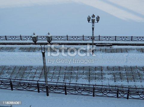 View of the Tura River embankment in winter. In Tyumen, Siberia, Russia