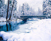 Falling Snow Creates A Winter Wonderland In Yosemite National Park Along The Merced River