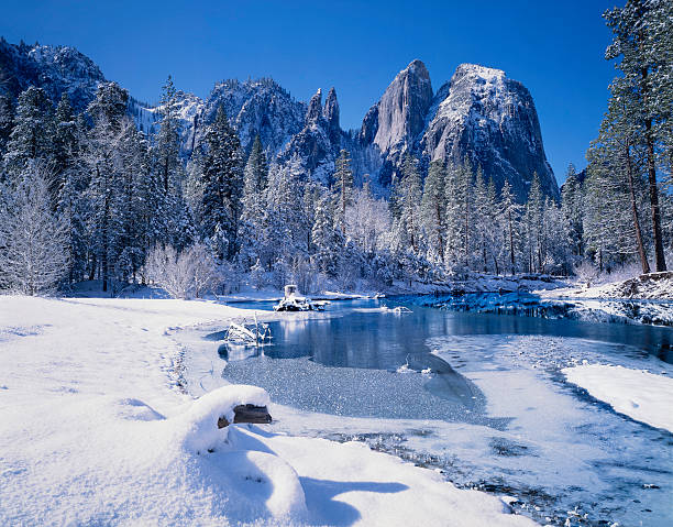 winter in yosemite national park - wilderness area stock pictures, royalty-free photos & images