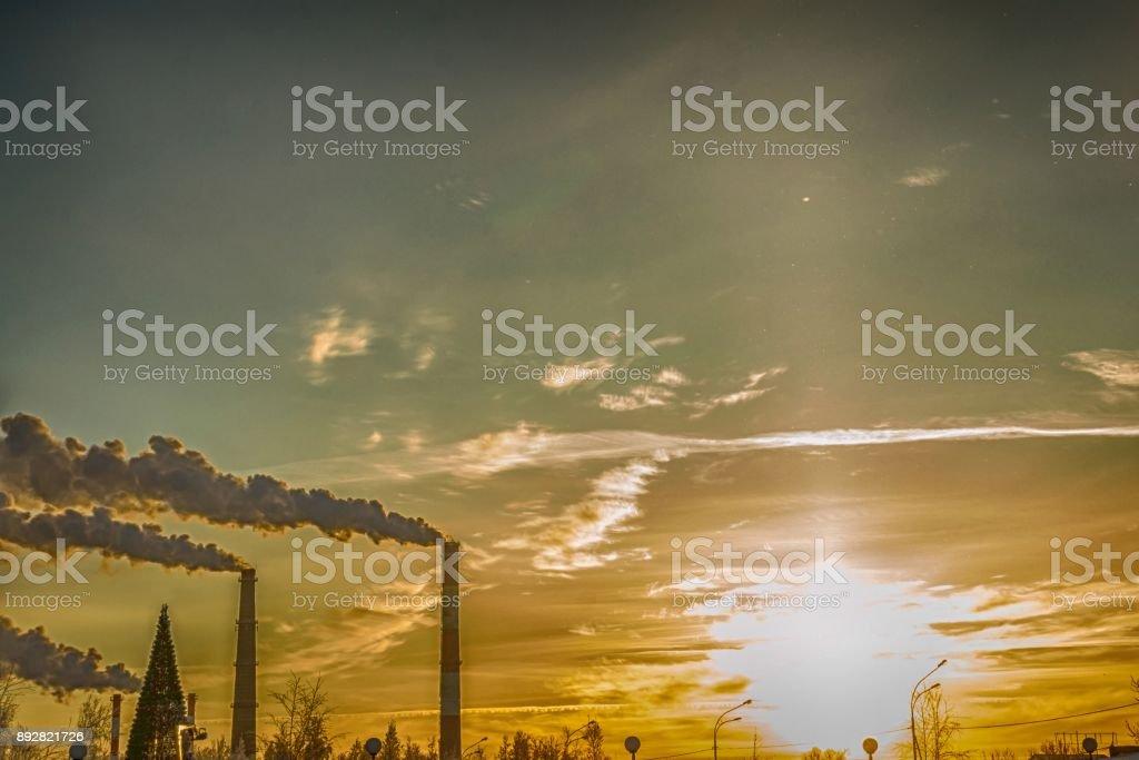 winter industrial city stock photo