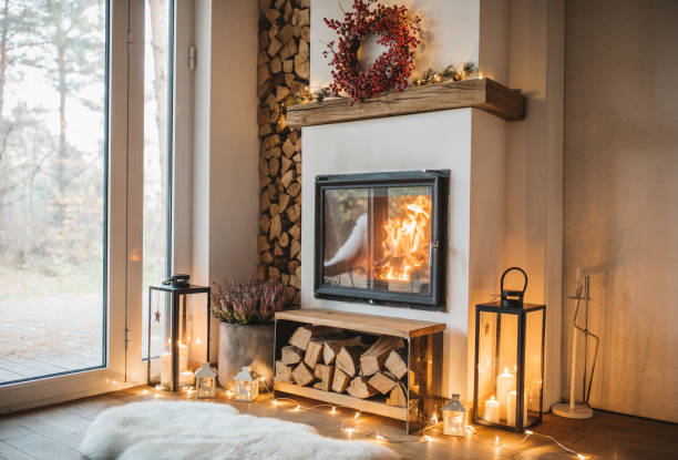 de winter is hier - fireplace stockfoto's en -beelden