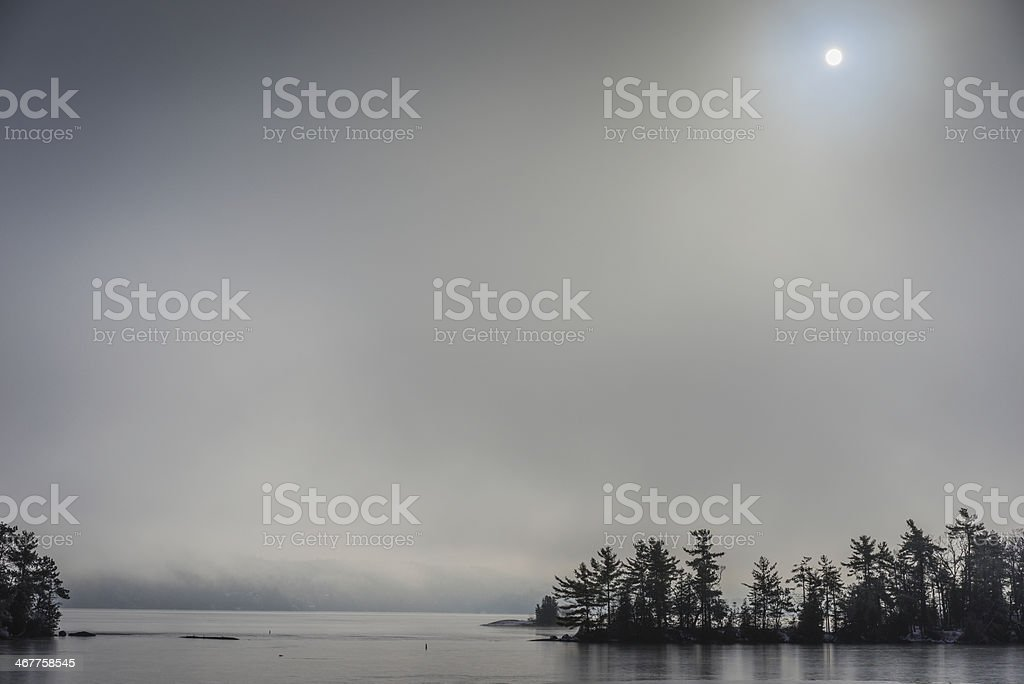 Winter Islands on Lake George stock photo