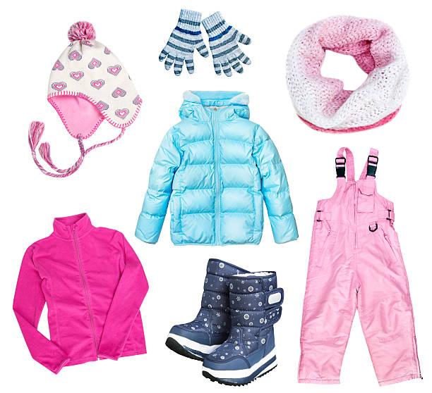 winter kid's child's clothes set collage isolated. - kinder winterstiefel stock-fotos und bilder