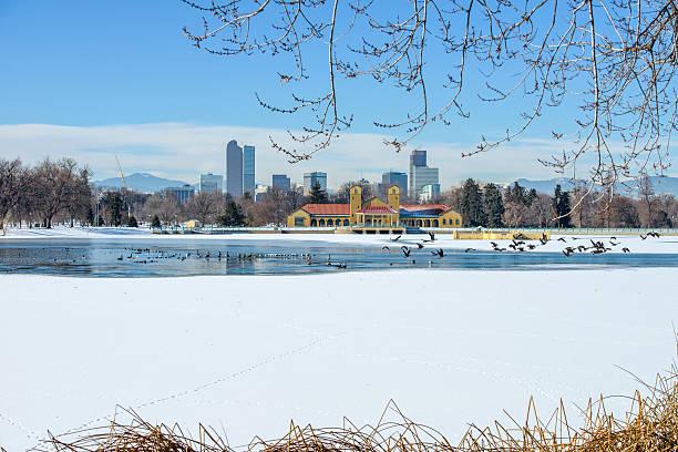 Winter Lake At Downtown Denver stock photo
