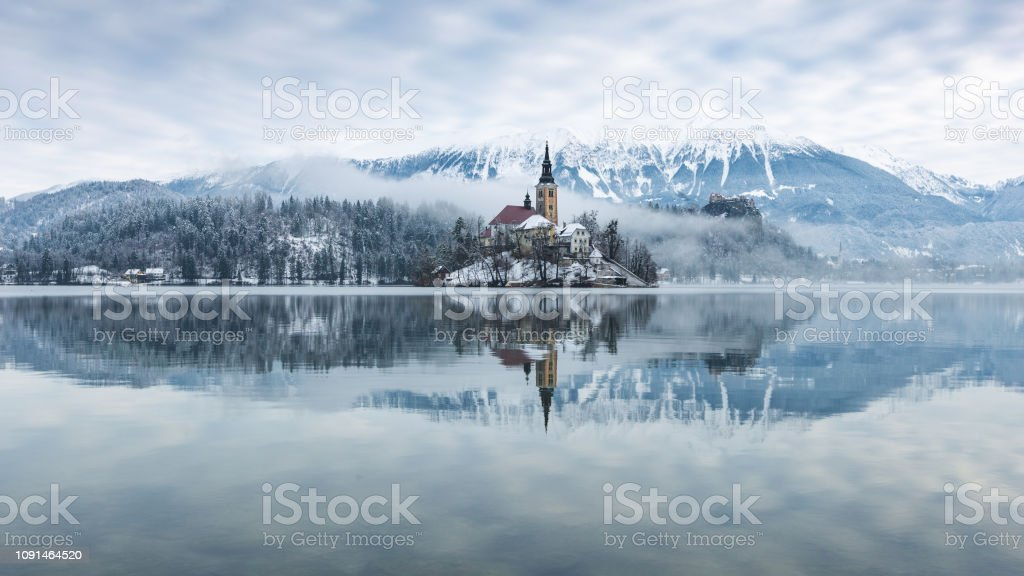 Winter Lake Bled Slovenia With Snow Stock Photo Download