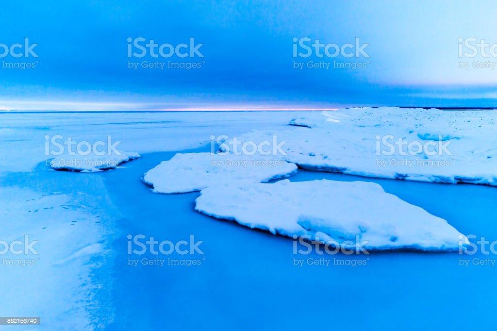 Winter Lake Huron in Dusk stock photo