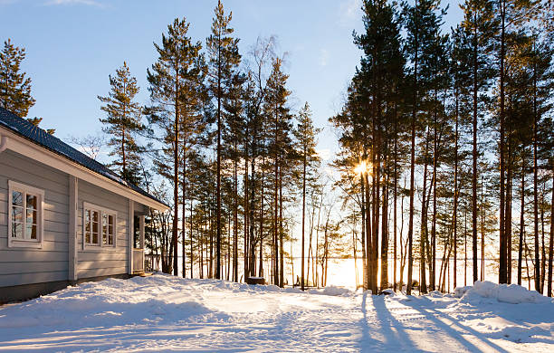 Winter lake in forest with house Winter lake in forest with house russian dacha stock pictures, royalty-free photos & images