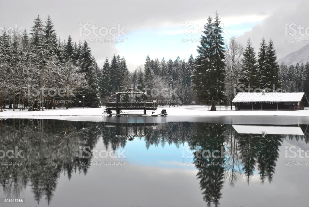 winter lake in France stock photo