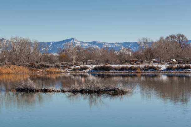 Winter Lake in the High Desert stock photo