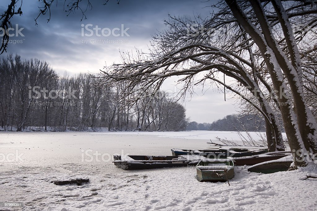 Winter lake, landscape royalty free stockfoto