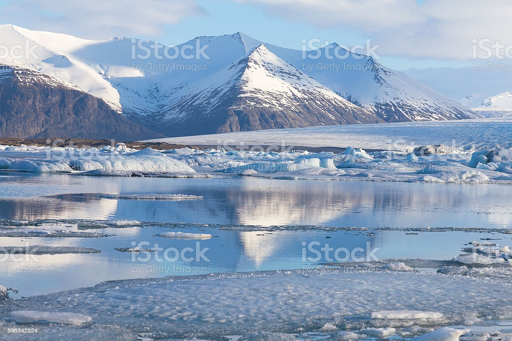 Winter lake natural Iceland landscape royalty-free stock photo