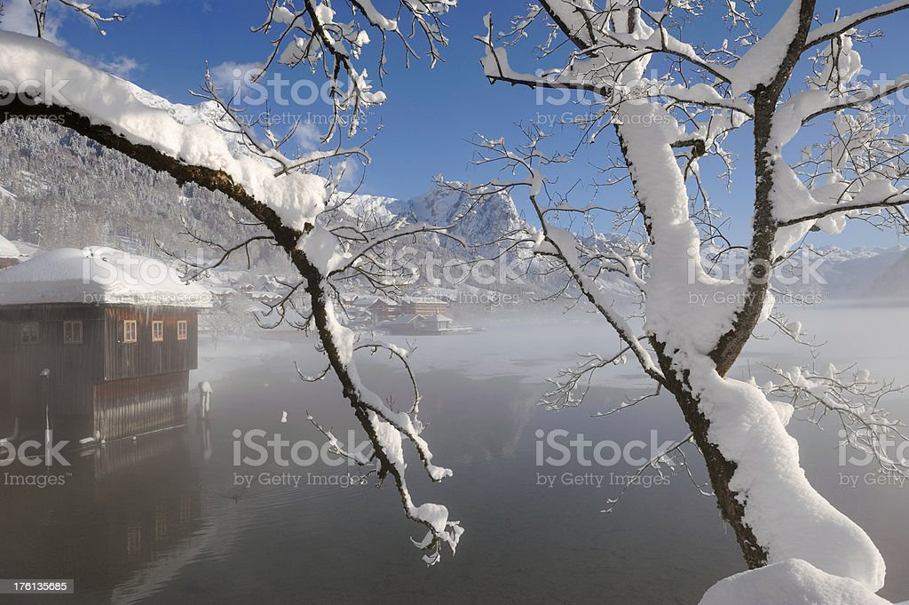 Winter Lake Panorama - Day after heavy snowstorms royalty-free stock photo