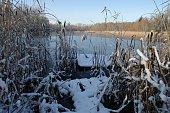 Lake in winter setting