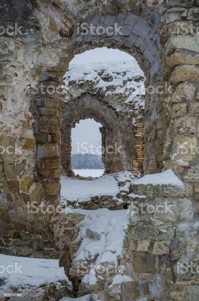 Winter landmark. Snow covered ancient fortress walls. royalty-free stock photo