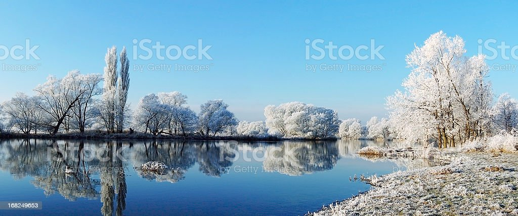 winter landscape at Havel River stock photo
