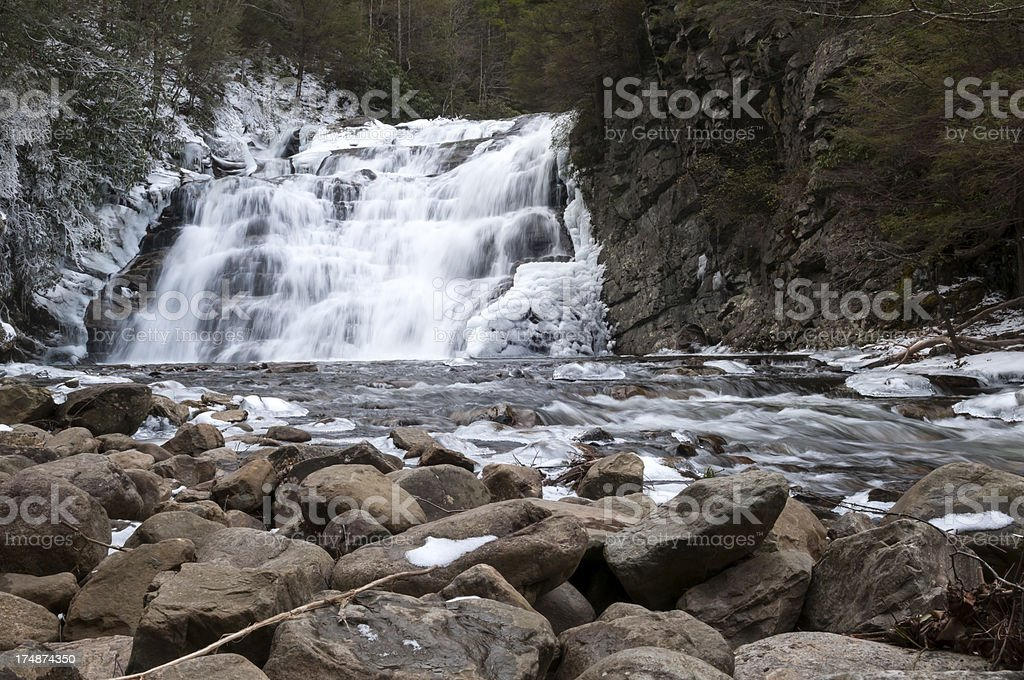 Waterfall in winter - Laurel Falls, Carter County, Tennessee stock photo